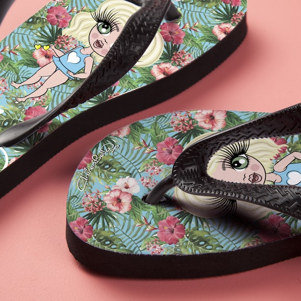 ClaireaBella Girls Hula Print Flip Flops - Image 5