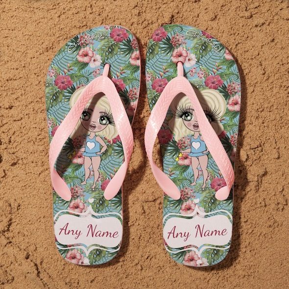 ClaireaBella Girls Hula Print Flip Flops - Image 1