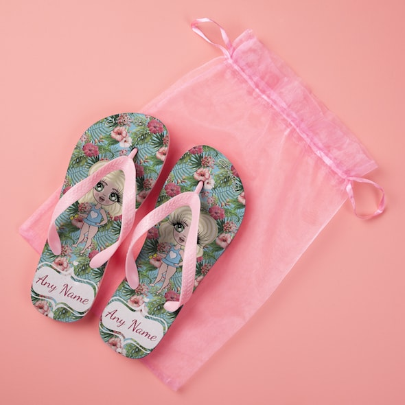 ClaireaBella Girls Hula Print Flip Flops - Image 3