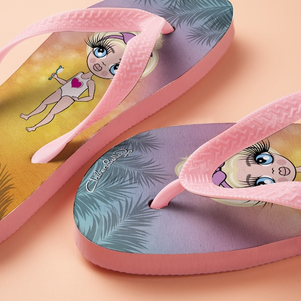 ClaireaBella Girls Tropical Sunset Flip flops - Image 2