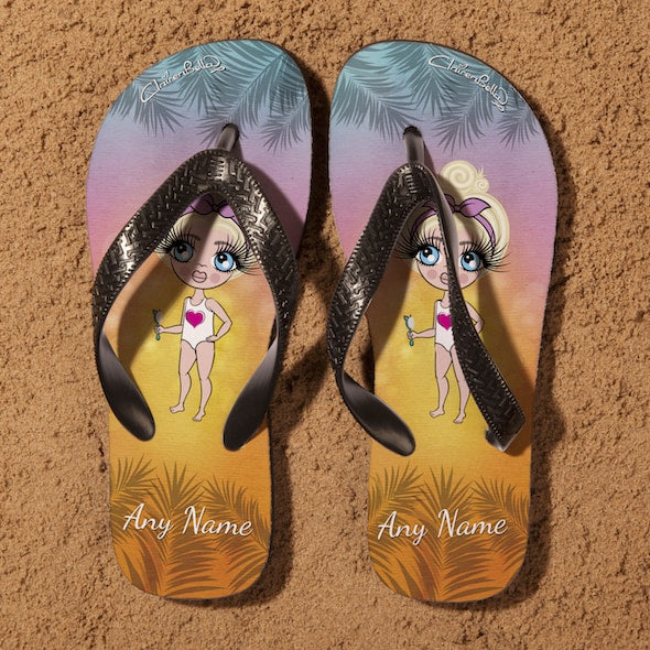 ClaireaBella Girls Tropical Sunset Flip flops - Image 4