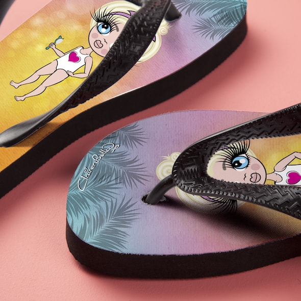 ClaireaBella Girls Tropical Sunset Flip flops - Image 5