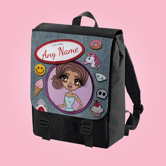 ClaireaBella Denim Effect Large Backpack - Image 1