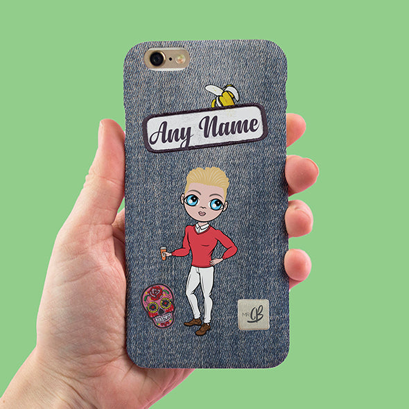 MrCB Denim Effect Personalised Phone Case - Image 1