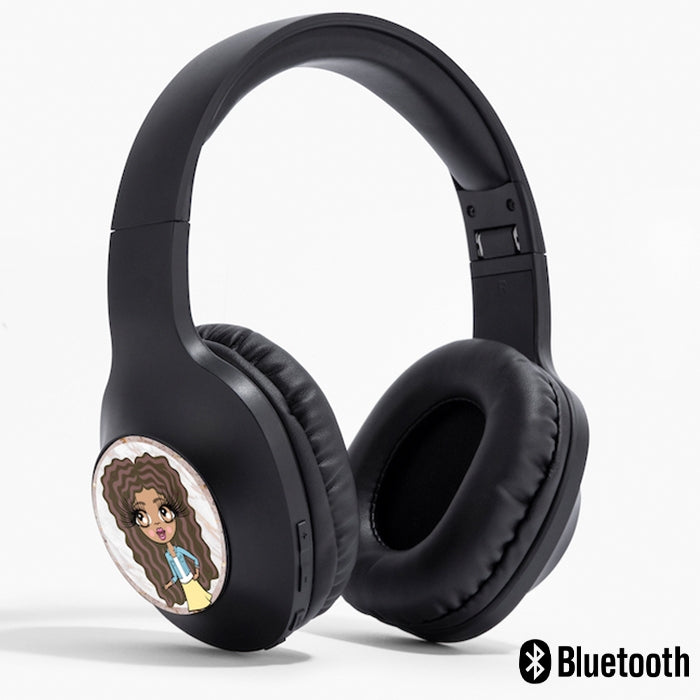 ClaireaBella Girls Gold Marble Personalised Wireless Headphones - Image 1