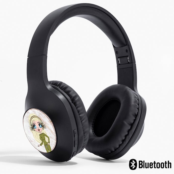 ClaireaBella Gold Marble Personalised Wireless Headphones - Image 1