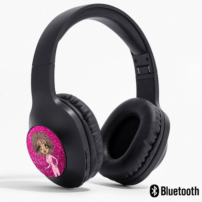 ClaireaBella Pink Glitter Effect Personalised Wireless Headphones - Image 1