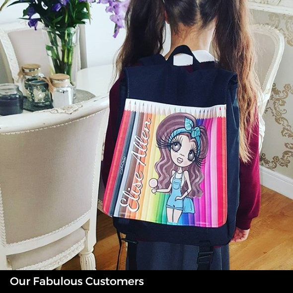 ClaireaBella Girls Coloured Pencils Large Backpack - Image 7