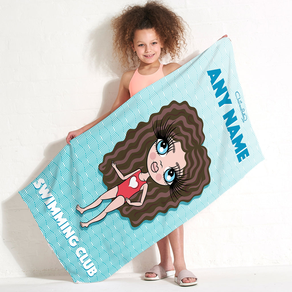 ClaireaBella Girls Abstract Waves Swimming Towel - Image 1