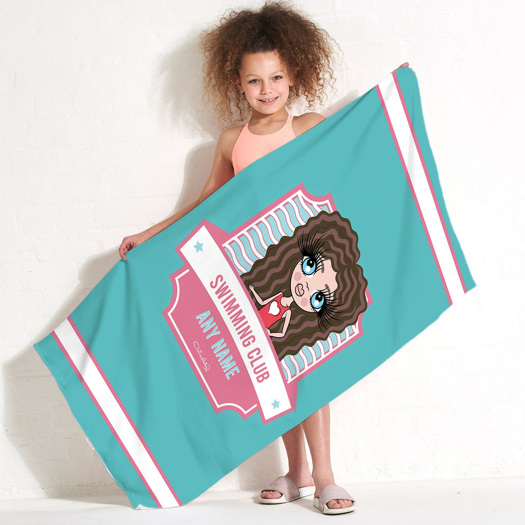 ClaireaBella Girls Emblem Swimming Towel - Image 1