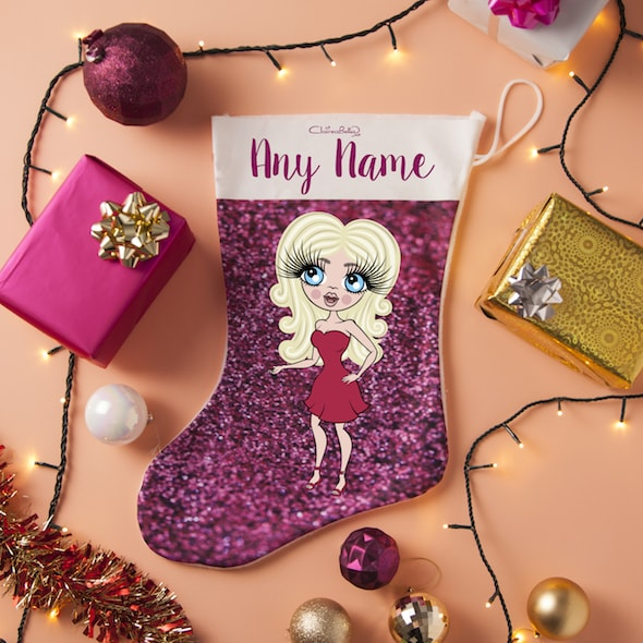 ClaireaBella Pink Glitter Effect Christmas Stocking - Image 1