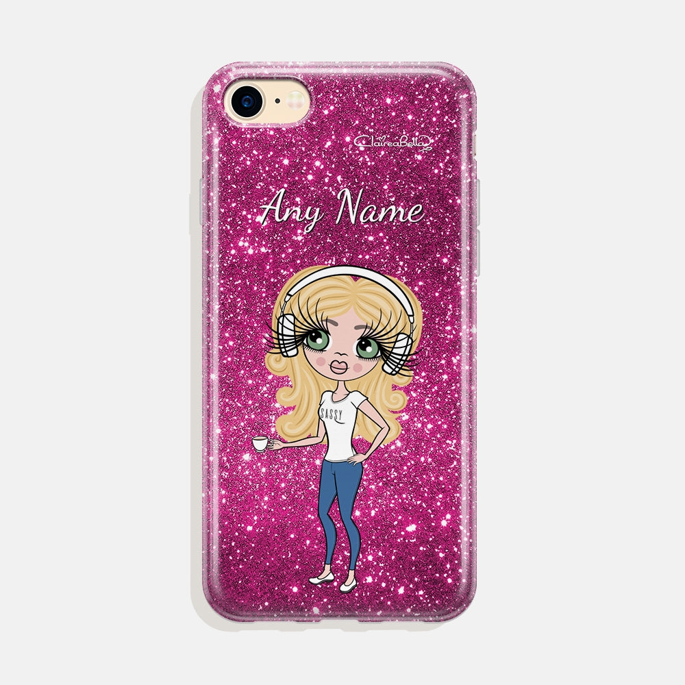 ClaireaBella Personalised Glitter Effect Phone Case - Pink - Image 1
