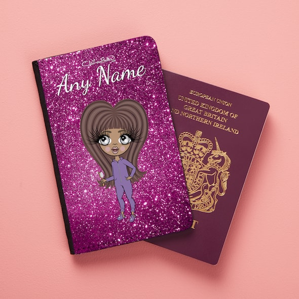 ClaireaBella Girls Glitter Passport Cover - Image 1