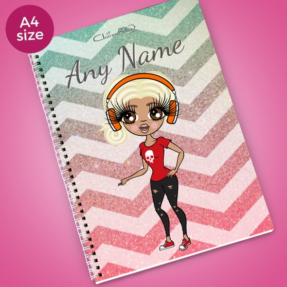 ClaireaBella Zig Zag Sparkle A4 Softback Notebook - Image 1