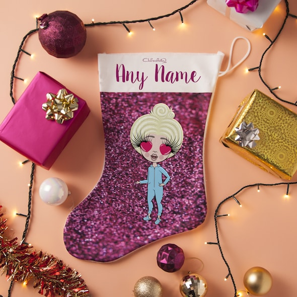 ClaireaBella Girls Pink Glitter Christmas Stocking - Image 1