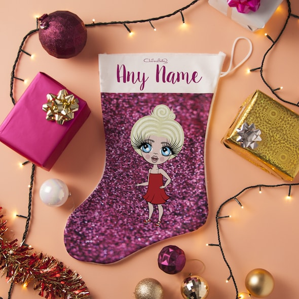 ClaireaBella Girls Pink Glitter Christmas Stocking - Image 4