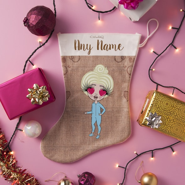 ClaireaBella Girls Jute Print Christmas Stocking - Image 1