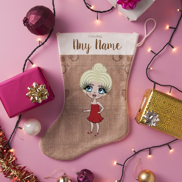 ClaireaBella Girls Jute Print Christmas Stocking - Image 2