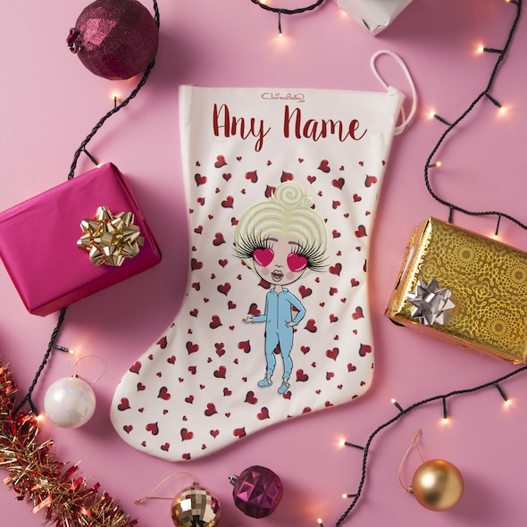 ClaireaBella Girls Red Heart Christmas Stocking - Image 1