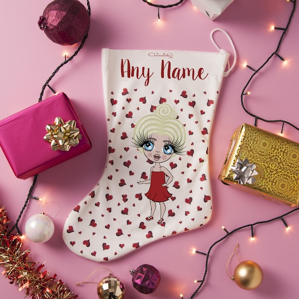 ClaireaBella Girls Red Heart Christmas Stocking - Image 3