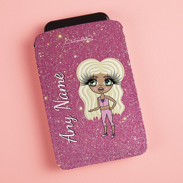 ClaireaBella Girls Pink Glitter Fabric Phone Case - Image 1