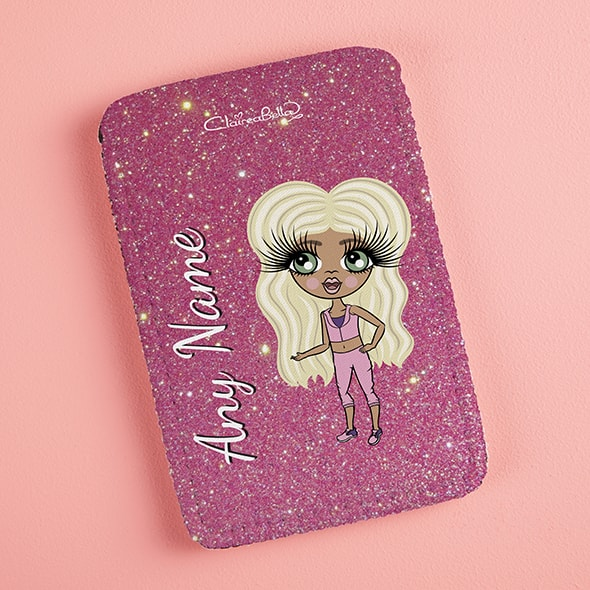 ClaireaBella Girls Pink Glitter Fabric Phone Case - Image 3