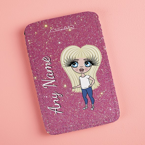 ClaireaBella Girls Pink Glitter Fabric Phone Case - Image 2