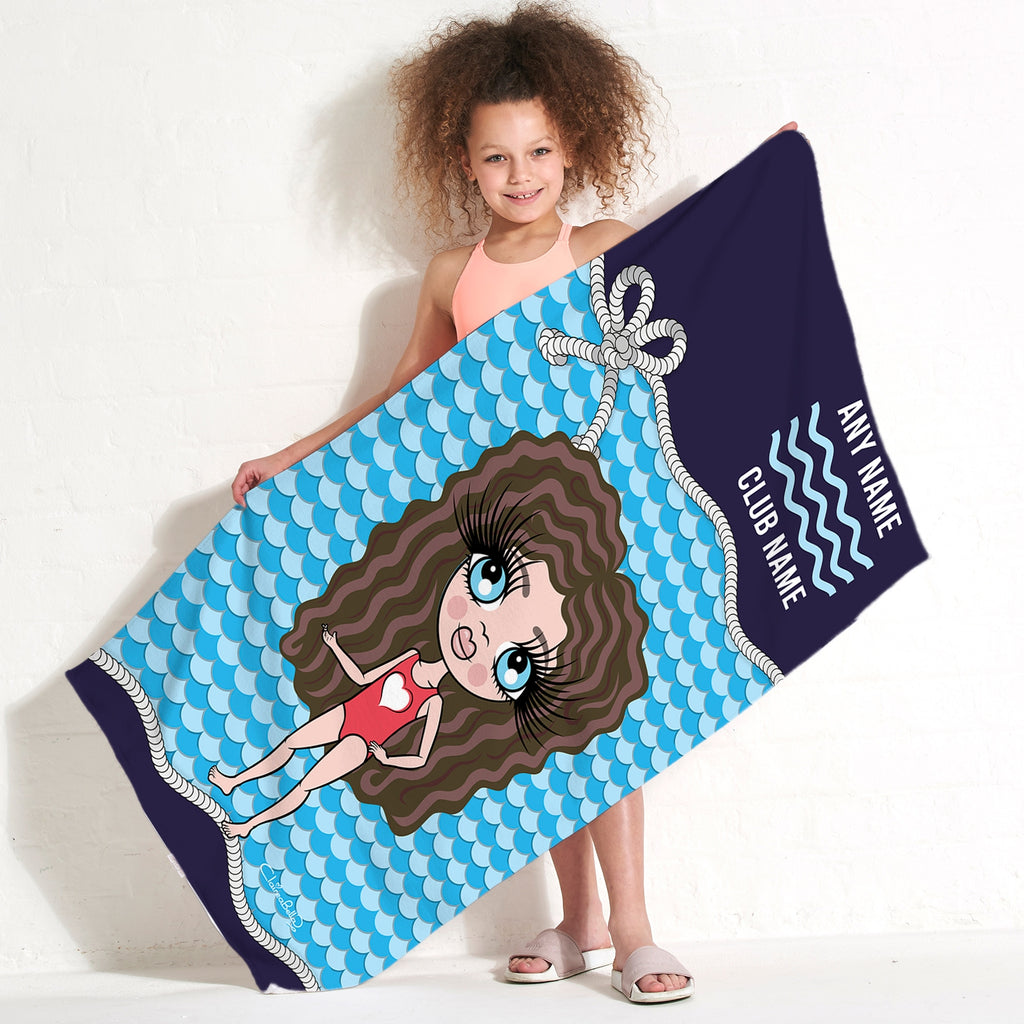 ClaireaBella Girls Nautical Swimming Towel - Image 1
