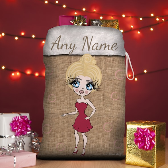 ClaireaBella Jute Print Christmas Sack - Image 1