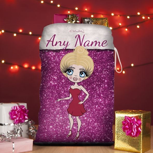 ClaireaBella Pink Glitter Christmas Sack - Image 1