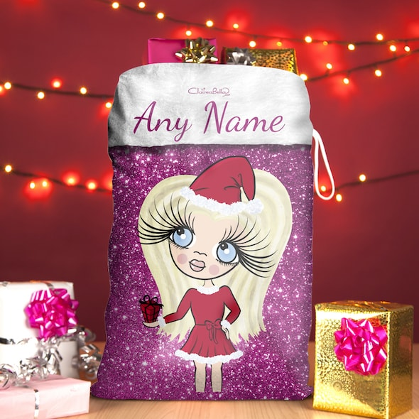 ClaireaBella Girls Pink Glitter Christmas Sack - Image 1