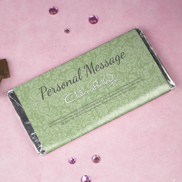 ClaireaBella Girls Green Floral Chocolate Bar - Image 2