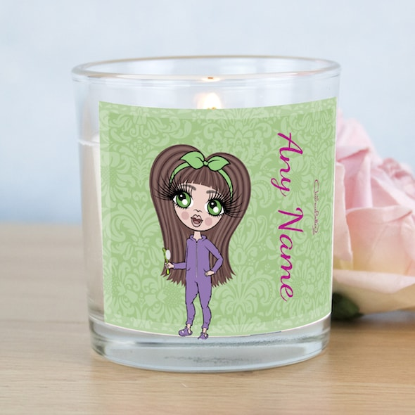 ClaireaBella Girls Green Floral Scented Candle - Image 1