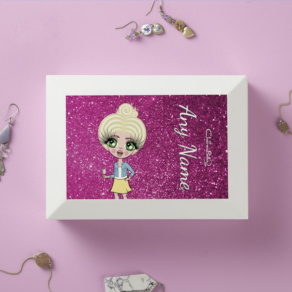 ClaireaBella Girls Pink Glitter Jewellery Box - Image 1