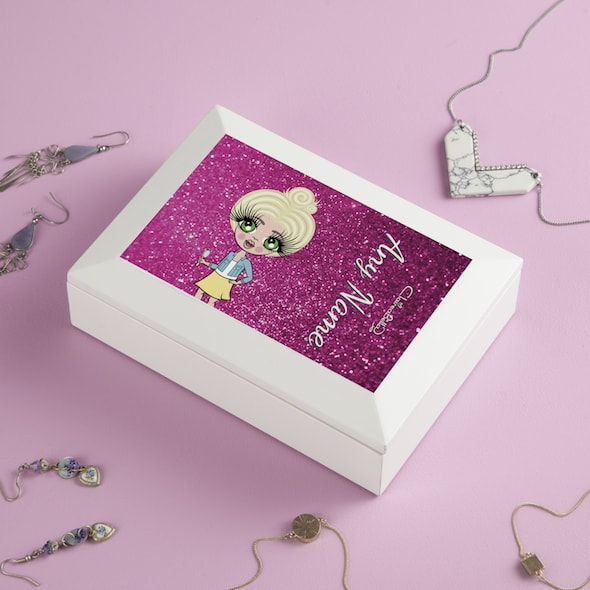 ClaireaBella Girls Pink Glitter Jewellery Box - Image 2