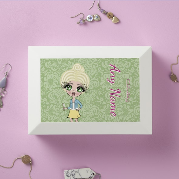 ClaireaBella Girls Green Floral Jewellery Box - Image 1