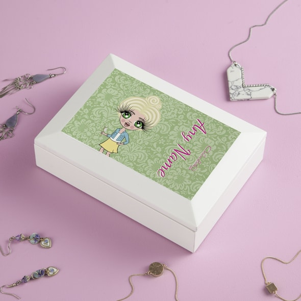 ClaireaBella Girls Green Floral Jewellery Box - Image 2