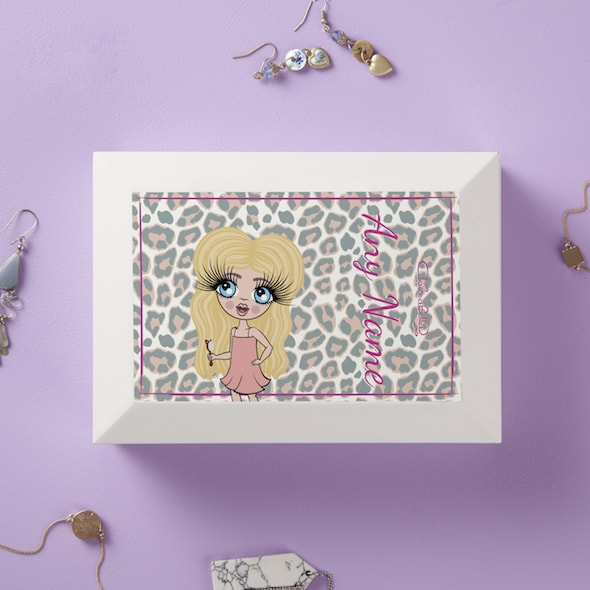 ClaireaBella Girls Pink Leopard Print Jewellery Box - Image 1