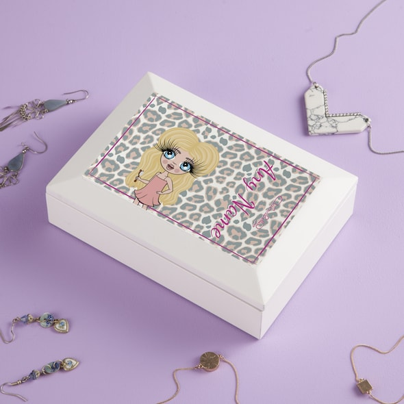 ClaireaBella Girls Pink Leopard Print Jewellery Box - Image 2