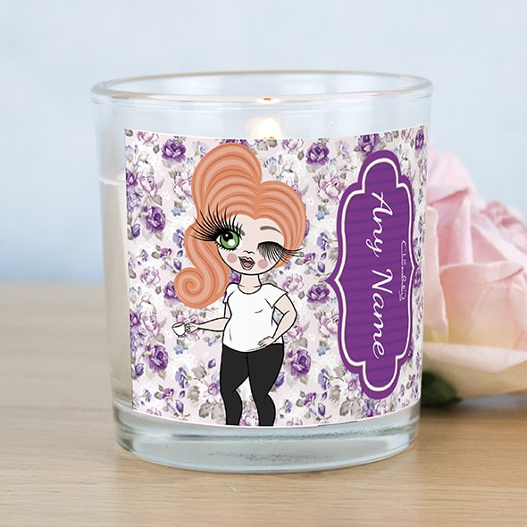 ClaireaBella Violet Rose Print Scented Candle - Image 1