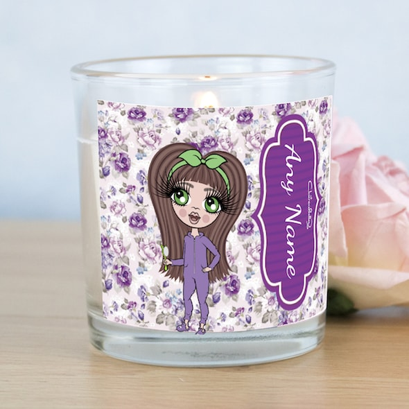 ClaireaBella Girls Violet Rose Print Scented Candle - Image 1