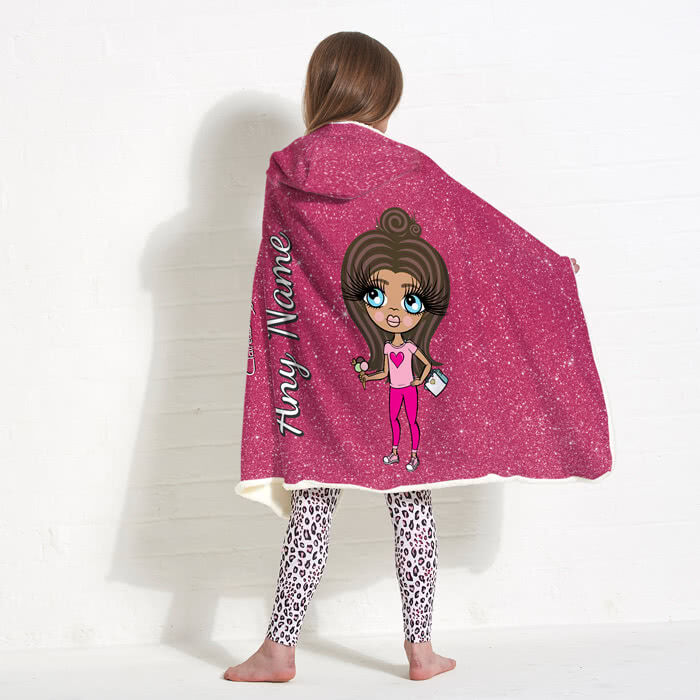 ClaireaBella Girls Glitter Effect Hooded Blanket