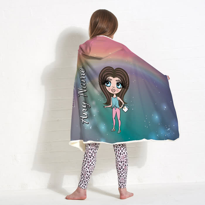 ClaireaBella Girls Unicorn Colours Hooded Blanket
