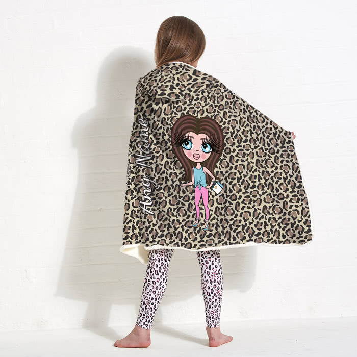 ClaireaBella Girls Leopard Print Hooded Blanket