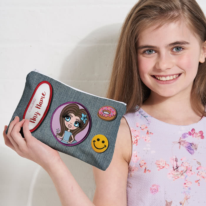 ClaireaBella Girls Denim Effect Make Up Bag