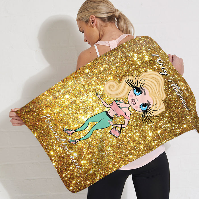 ClaireaBella Glitter Effect Gym Towel