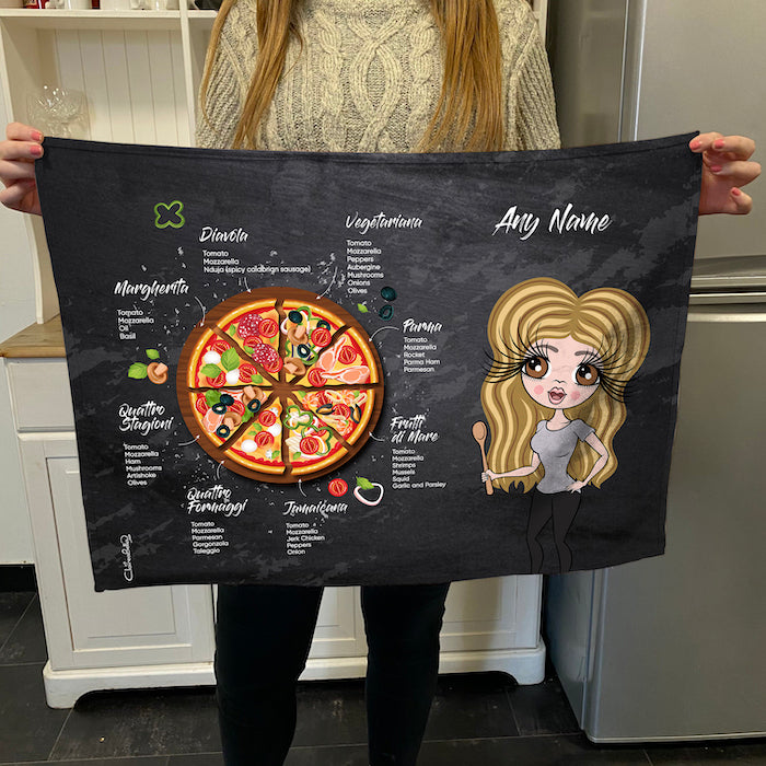 ClaireaBella Personalised Pizza Selection Tea Towel