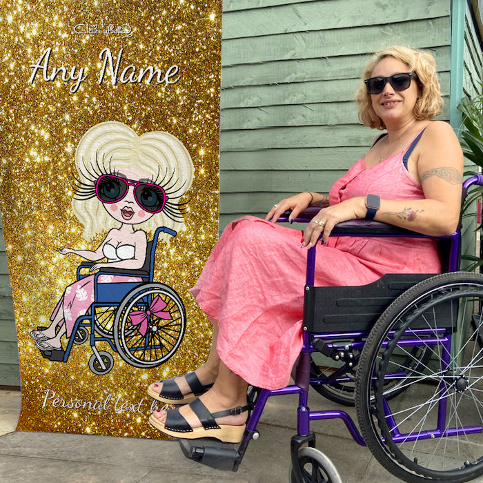 ClaireaBella Glitter Effect Wheelchair Beach Towel