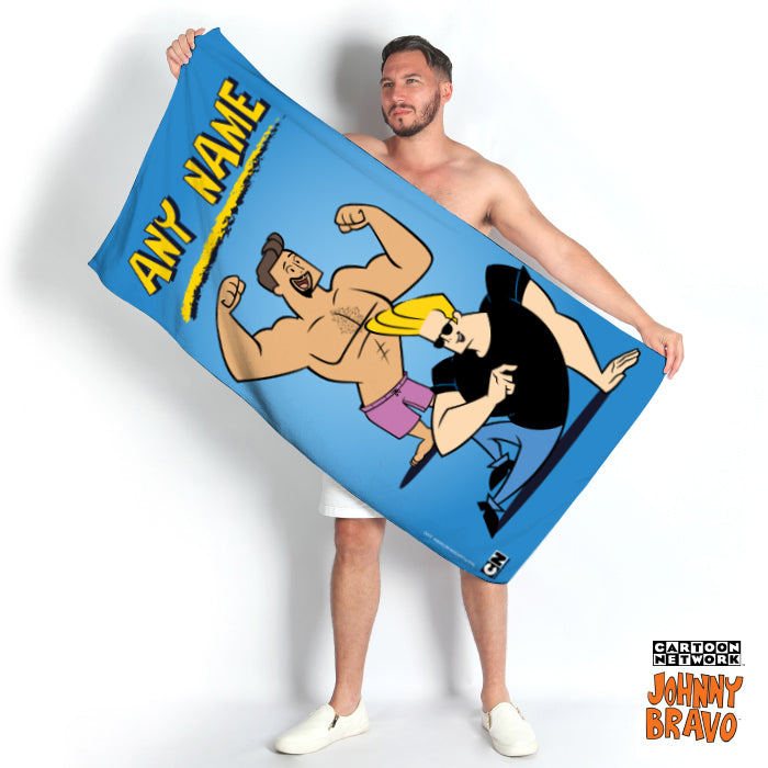 Johnny Bravo Guys Blue Beach Towel