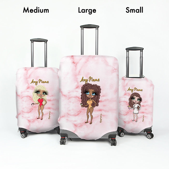 ClaireaBella Pink Marble Effect Suitcase Cover
